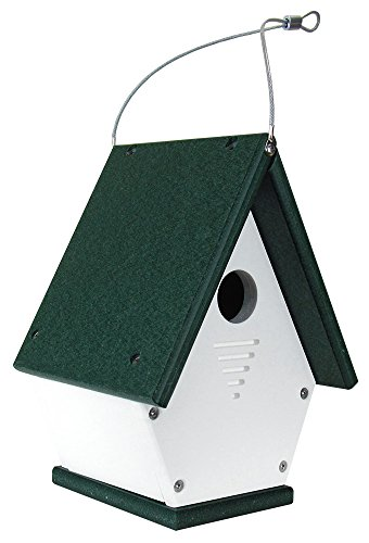 JCs Wildlife White/Green Wren Chateau Birdhouse, Eco-Friendly Material
