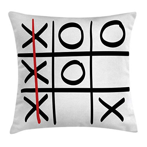 Ambesonne Xo Throw Pillow Cushion Cover, Popular Tic Tac Toe Game Pattern Hand Drawn Design Win Victory Finish Theme, Decorative Square Accent Pillow Case, 20 X 20 Inches, Vermilion Black White