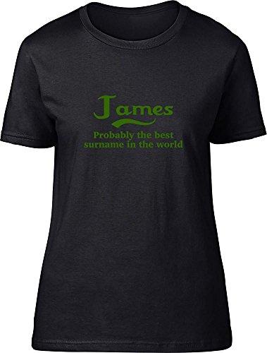 James probablemente la mejor apellido en el mundo Ladies T Shirt negro