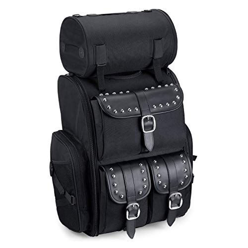 (Viking Bags Extra Large Universal Fit Motorcycle Sissy Bar Bag (Black, Studded))