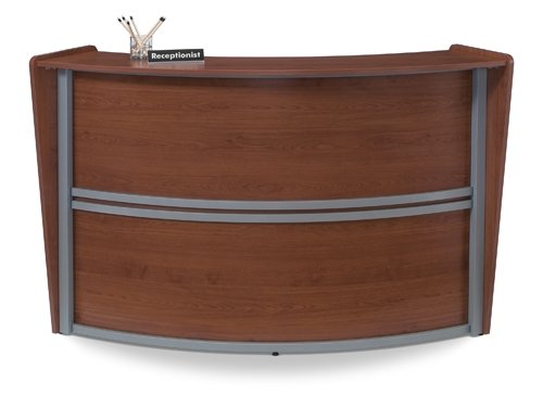 Ofm Curved Reception Desk Dimensions: 69.6''W X 33.5''D X 45.5''H 28.75'' Work Surface Height, 19.75'' Work Surface Depth 44.50'' Transaction Top Height 42'' Wide Interior Work Space - Cherry by OFM