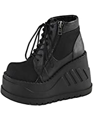 Summitfashions Womens Closed Toe Wedges Black Canvas Shoes Combat Boots Ankle 4 3/4 inch Wedge