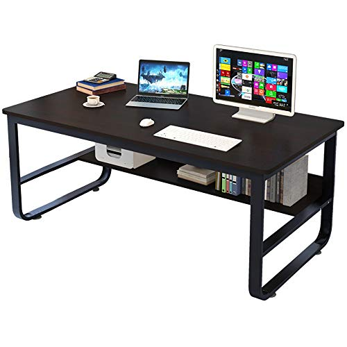Computer Desk with Bookshelf ,2 Tier Simple Home Desk Writing Desk Student Study Table , Modern Economic Desktop Computer Desk,Training Tables,Conference Tables,55.2 x 27.6 x 28.8 inches ()