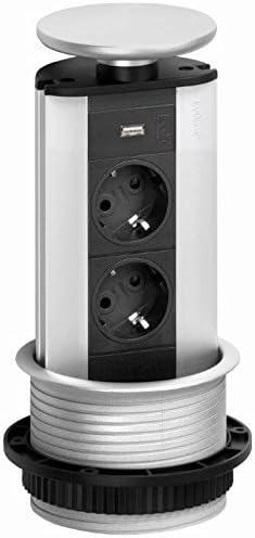 Evoline Port 2 fois Schuko Cuisine Installation prise électrique Escamotable USB Charger 543090