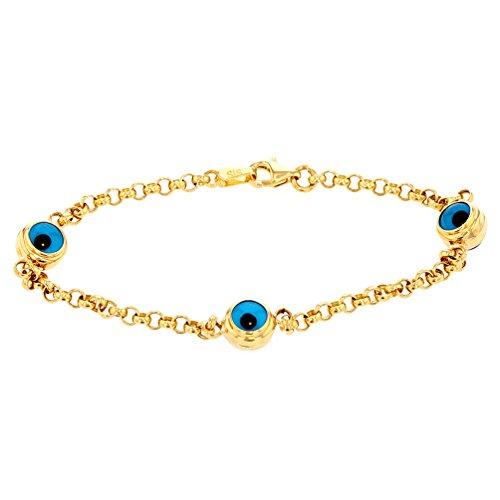 JewelryAmerica Polished 14k Yellow Gold Blue Evil Eye Link Bracelet 8