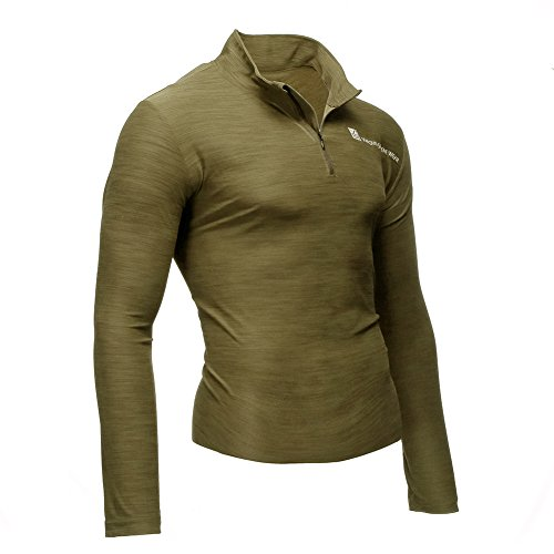Fusion VS Wear Men's Microfiber 1/4 Zip Slim Fit Compression Long Sleeve Athletic Sport Performance Training Thermal Baselayer Tactical Turtleneck Shirt Made in USA Large Coyote Brown