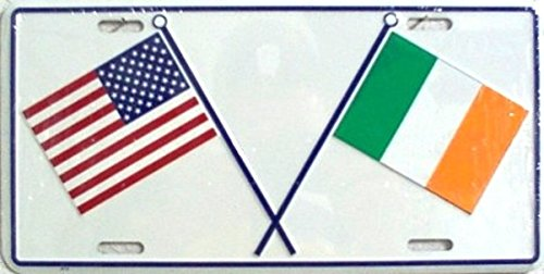 Dixie US & Irish Crossed Flags License Plate