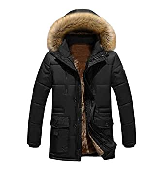 Maisicolis Men Cotton-Padded Clothes Fur Collar Hood