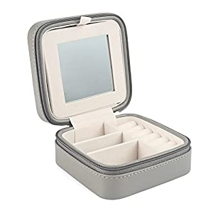 Vlando Macaron Small Jewelry Box with Mirror, Travel Storage Case for Rings and Earrings - Grey