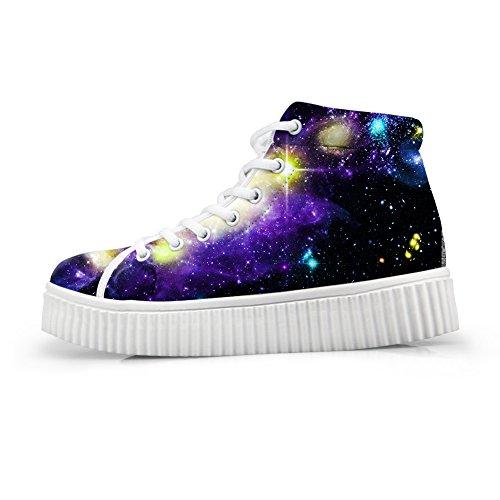 Kramar Idé Mode Färg Galaxy Kvinnor Skor Plattform Sneakers Galaxy Star 2