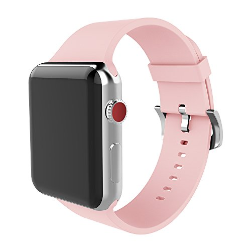 MITERV Compatible Watch Band 38mm Soft Silicone Replacement Band for Watch Series 3 Series 2 Series 1 Pink