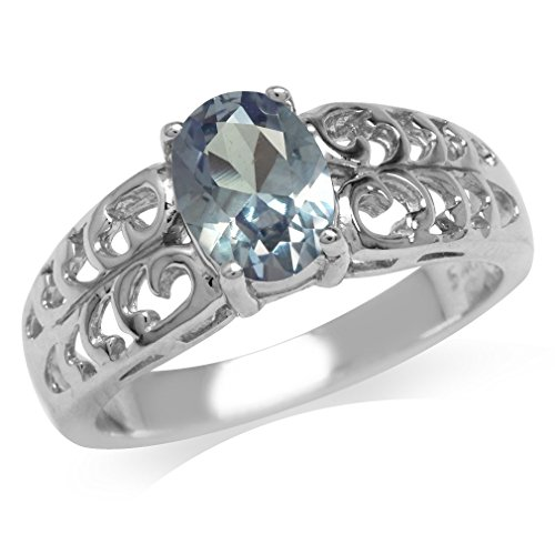 Simulated Color Change Alexandrite White Gold Plated 925 Sterling Silver Filigree Solitaire Ring Size (Alexandrite Filigree)