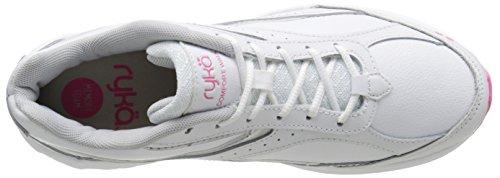 RYKA Damen Comfort Leder Wanderschuh Weiß / Chrom Silber / Pink