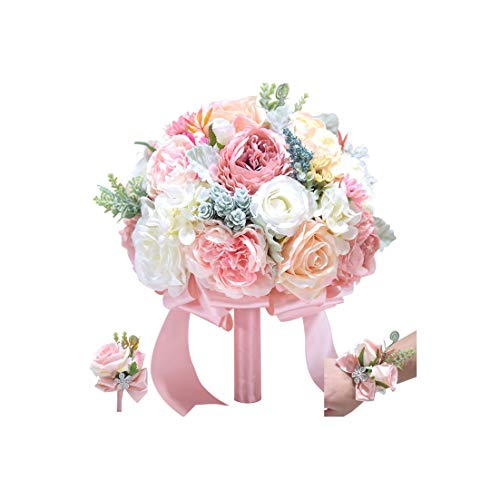 Xiao-Jing New Wedding Bouquet Ivory and Blush Pink Toon Purple Peony Wedding Flower Silk Bridal Bouquet Wedding Decoration,White ()