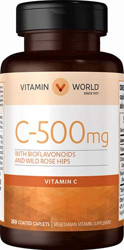 Vitamin World Vitamin C 500 mg with Bioflavonoids and Wild Rose Hips, 250 Coated Caplets