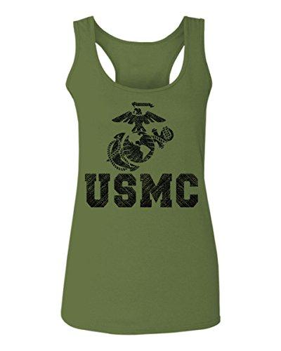 Tee Big Womens Logo (Black Marine Corp USMC Big Logo Seal United States of America USA American Women's Tank Top Sleeveless t Shirt Racerback (Olive, Small))