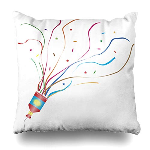 (Ahawoso Throw Pillow Cover Bang Confetti Exploding Party Popper Year Streamers Celebration Christmas Xmas Design Decorative Cushion Case 18x18 Inches Square Home Decor)