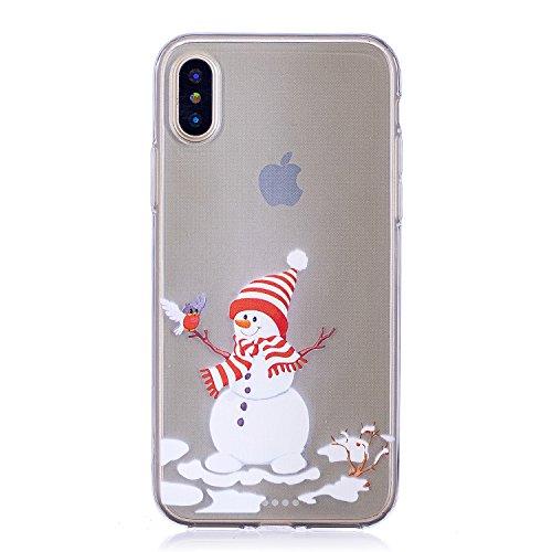 iPhone X Custodia , Moda Pupazzo Di Neve Silicone leggero Morbido TPU Sollievo Sottile Protezione Antiurto Copertura Antiscivolo Resistente Coperture Cover Case Custodia per Apple iPhone X