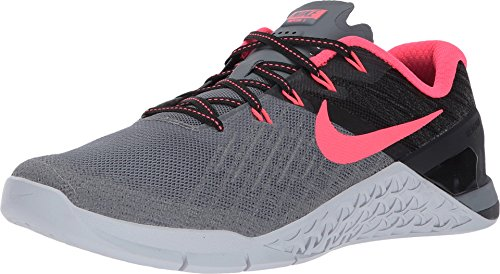387616869946 Nike Womens Metcon 3 Training Shoe Cool Grey Solar Red-Black-Pure Platinum  Size 8