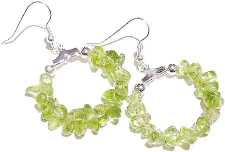 Gemstone Chip Hoop Earrings 25mm - Green Peridot