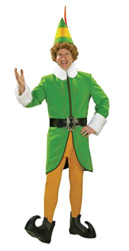 UHC Men's Deluxe Santa Buddy The Elf Christmas Holiday Party Costume, XL (44-48) (Deluxe Buddy The Elf Costume)