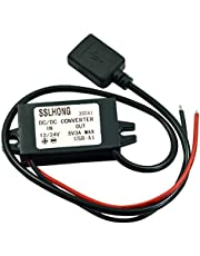 HOMREE DC DC Converter Buck Module 12V/24V to 5V 3A USB Output Step Down Voltage Regulator Charge for Samsung Galaxy, iPad iPhone 4S 5 6/6 Plus etc (Standard USB)