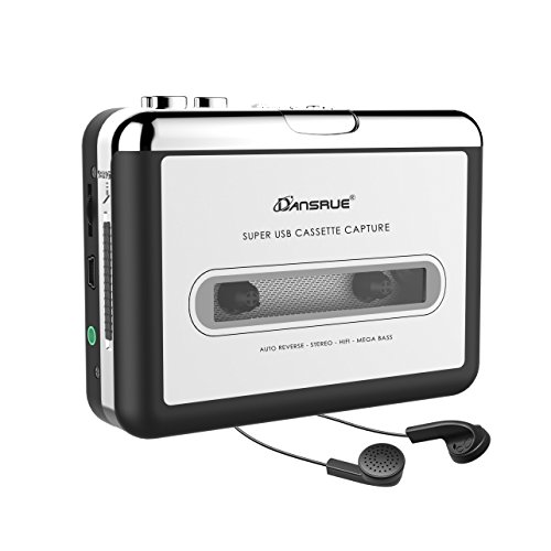 Dansrue Cassette to MP3 Converter, 2018 USB Cassette Player Recorder to MP3 Converter Retro Walkman Audio for PC Laptop Mac with Headphone and Software (Silver A) (Cassette Digital)