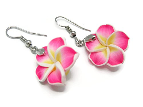 CHADADA Hawaiian Fimo Plumeria Flower Dangle Earrings Handmade, 20 mm (Pink), (Little Alchemist Halloween)