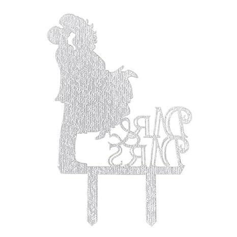 Amazon.com: eDealMax Partido acrílico Novio de la Novia de la decoración DIY Torta de la Magdalena Recogida Topper 6,9 pulgadas Longitud de tono de Plata: ...