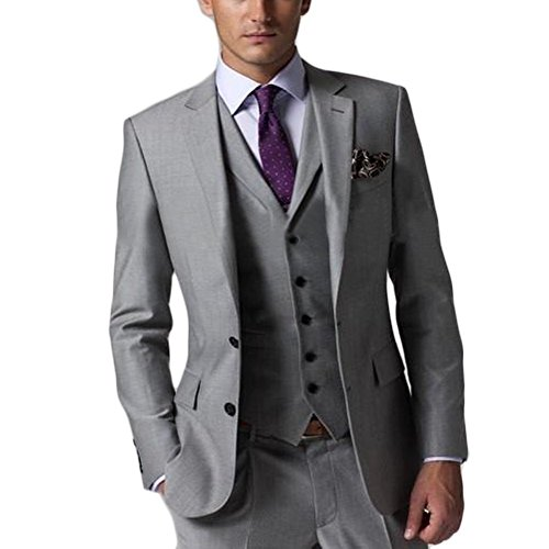 Dennis dress Light Grey Business Suits Formal Dress Men Suit Set groom tuxedo Four-piece D-168 ( 42''Chest / Long, Light gray) by Dennis dress
