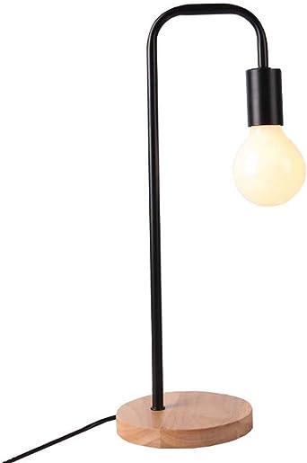 Lámpara de mesa minimalista nórdica, luz de escritorio de madera ...