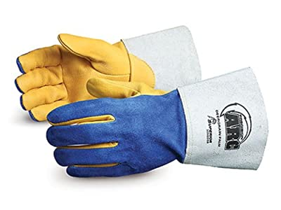 Superior 305GDSB Precision Arc Deerskin Leather TIG Welding Glove, Work, Large, Blue (Pack of 1 Dozen)