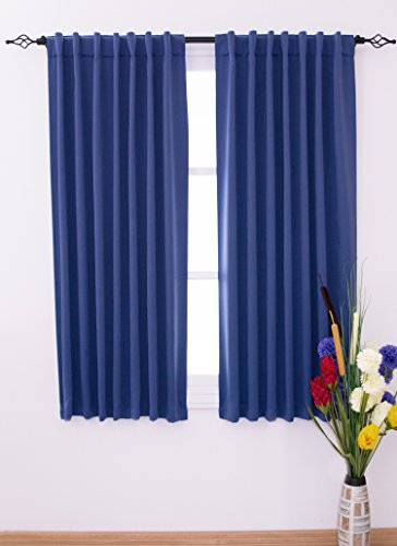 Sundown Interiors Thermal Insulated Blackout Curtains, Triple Woven Polyester with Rod Pocket / Back Tab Set of 2 Panels with Matching Tiebacks, (W52 x L63 - Navy Blue) (Curtain Double Panels compare prices)