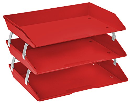 - Acrimet Facility 3 Tier Letter Tray Plastic Desktop File Organizer (Solid Red Color)