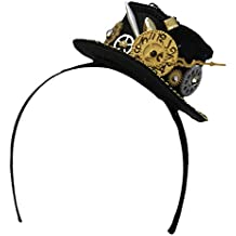 """2.5"""" Steampunk Mini Top Hat Headband With Clock and Gears"""