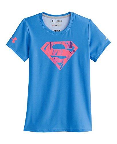 Under Armour Big Girls' HeatGear® Sonic Supergirl Neon Short Sleeve YXL ELECTRIC BLUE
