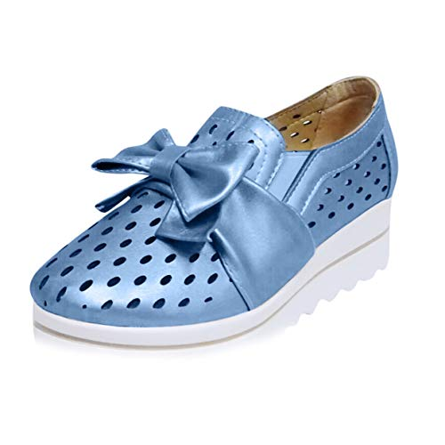 Suede Mug - Haalife◕‿¿Women Slip on Loafers Casual Comfort Suede Shoes Round Toe Hollow Out Wedge Platform Sneakers Blue
