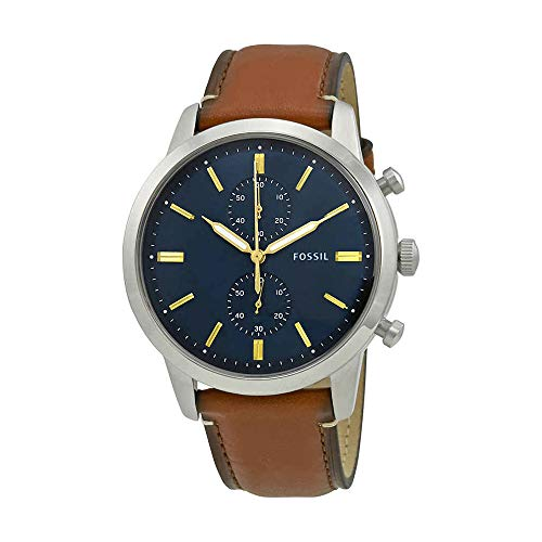 (Fossil Men's Townsman Quartz Stainless Steel and Leather Chronograph Watch, Color: Brown; Dial color - blue-Tone (Model: FS5279))