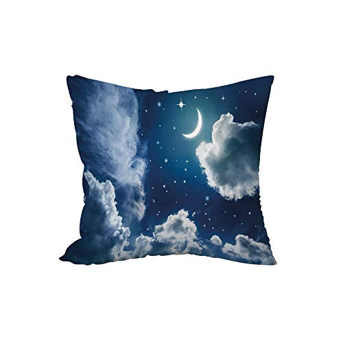 Polyester Throw Pillow Cushion,Night Sky,Cartoon Kids Children Fairytale Themed Clouds Alluring Moon Lunar Image Decorative,Dark Blue and White,17.7x17.7Inches,for Sofa Bedroom Car Decorate