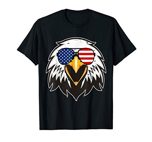 Patriotic Eagle 4th of July USA American Flag Sunglasses Tee T-Shirt