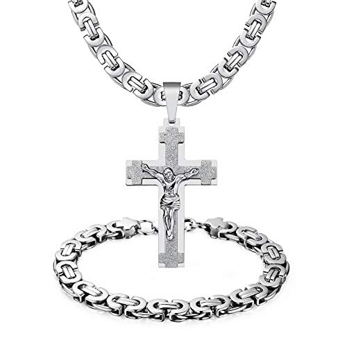 WESTMIAJW Mens Stainless Steel Silver Jesus Cross Pendant Necklace Bracelet Set Jewelry 60cm,Comes with Velvet Pouch