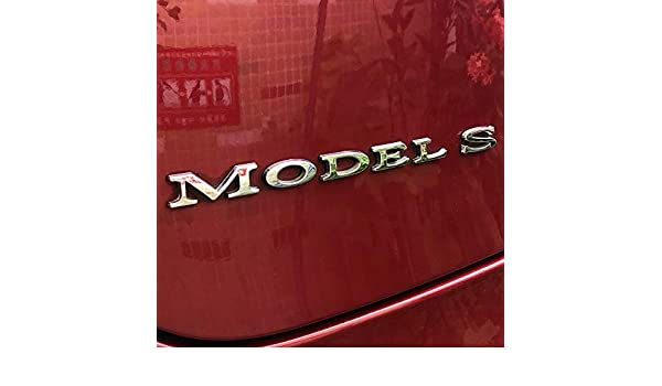 LMZX Model S Model X P100D Decals 3D Metal Sticker Badge Plus Silver Underline for Tesla Model S Model X Rear Trunk Emblem Badge Decorative Accessories