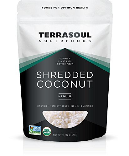 Terrasoul Superfoods Organic Shredded Coconut, 1 Lb - Medium Size | Perfect for Baking & Making Fresh Coconut Milk