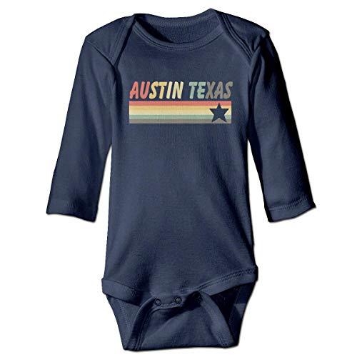 JIARO Infant Baby Girls Long Sleeve Climb Jumpsuit Austin Texas Print Jumpsuit Onesie Navy -