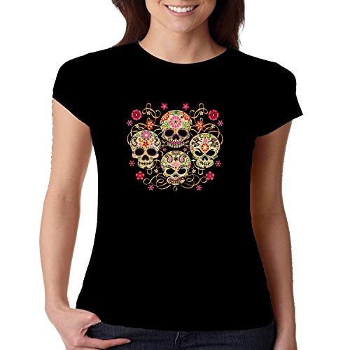Cool Fitted Shirt Floral Sugar Skulls Juniors Women's S-2XL (Black, L)