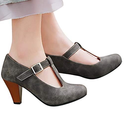 Behkiuoda Women Round Toe High Heel Pumps Strap Buckle Ankle Summer Party Sandal Causal Shoes Gray