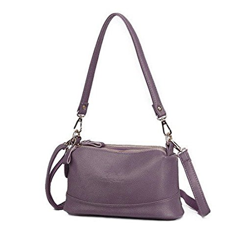 Capacity Messenger Bag Hobo Large Triple Pocket Handbag Purple Crossbody Shoulder Tote Zip Bag cwPvqAYP