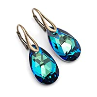 Bermuda Blue Swarovski Elements big crystal antique brass lever back earrings 1.4 in