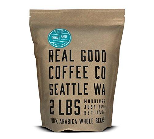 Real Good Coffee Co Donut Shop Medium Roast Whole Bean Coffee, 2 Pound Bag, 100% Arabica Coffee Beans