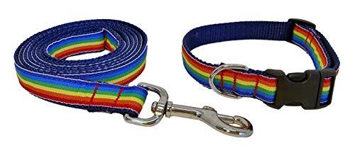 Preston Rainbow Dog Collar and Leash Set – Striped Multi Colored Ribbon on Navy Blue Nylon Webbing